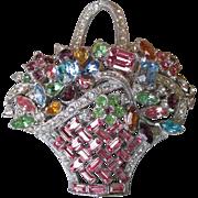Magnificent BOGOFF Vintage Pastel Rhinestone Flower Basket Brooch Pin, Book Piece!
