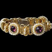 Vintage Big Amethyst Purple Rhinestone & Faux Pearl Book Chain Bracelet, Size SMALL