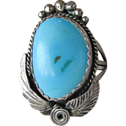 BIG Heavy 1960's Vintage Navajo Sleeping Beauty Turquoise Sterling Silver Unisex Ring, Size 8