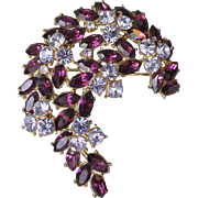 1961 Vintage Trifari Flower Spray Rhinestone Pin in Purple & Blue, Memo AD and Book Piece!