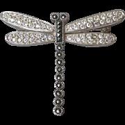 Pretty Sterling Silver, Marcasite & Rhinestone DRAGONFLY Vintage Pin
