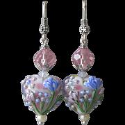 """""""My Secret Garden"""" Lampwork Art Glass Artisan Earrings, """"Hearts & Flowers"""""""