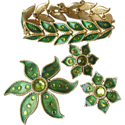 1960's Vintage Green Enamel, Rhinestone Flower & Leaf Parure, Bracelet, Earrings, & Pin Set