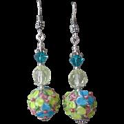 """""""My Secret Garden"""" Lampwork Art Glass Artisan Earrings, """"Pastel Bouquet"""" #"""
