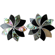 SALE Early Taxco BIG Sterling Silver Abalone & Onyx Inlaid Star Earrings