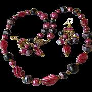 SALE Vintage Venetian Murano Glass Bead Necklace & Dangle Earrings Cocktail Party Set