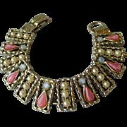 SALE Vintage Moonglow & Faux Pearl Book Chain Bracelet