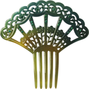 Edwardian Antique Green & Amber Celluloid Rhinestone Hair Comb