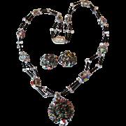 SALE Incredible 2-Strand Vintage Swarovski Vitrail Crystal PINE Cone Pendant Necklace & ...