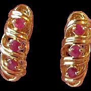 SALE Vintage Vermeil & Ruby Shrimp Pierced Earrings