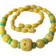 SALE 1930's Art Deco Bakelite Carved-Through Bead Necklace