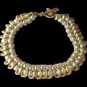 SALE Signed Kramer Faux Pearl & Rhinestone Vintage Collar Necklace