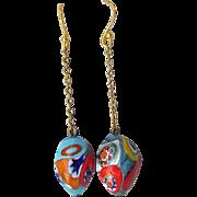 SALE Up-Cycled Millefiori Venetian Glass Dangle Pierced Earrings