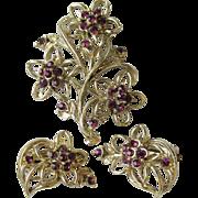 Pretty 1960's Purple Rhinestone Flower Bouquet Pin & Earrings Set, Vintage Demi Parure