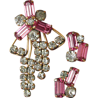 1940's Vintage STAR-ART Gold Filled Pink Rhinestone Pin/Pendant & Earrings Set