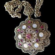 Bohemian Opaline Glass Cabochon & Rhinestone Pressed Aluminum Filigree Necklace
