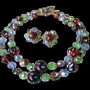 Exceptional Two-Strand Watermelon Rivoli Swarovski Crystal & Dimple Glass Bead necklace & ...