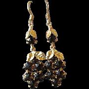 SALE Vintage 1920's Czech Rhinestone Grape Cluster Converted Dangle Pierced Earrings