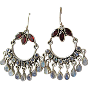 Garnet & Moonstone Bali Vintage Sterling Silver Chandelier Earrings