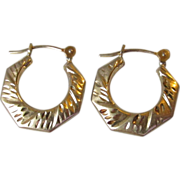 Vintage 14k Yellow Gold Small Flat Etched Hoop Earrings