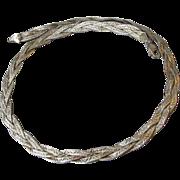1970's Vintage Triple Weave Braided Sterling Silver Herringbone Necklace
