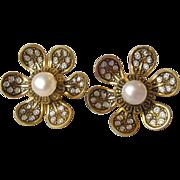 Vintage Damascene & Faux Pearl Passeport Spain 14k Gold Ear Wire Pierced Earrings, MINT On Car