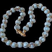 SALE 1950's Vintage Venetian BLUE Millefiori Glass Bead Necklace