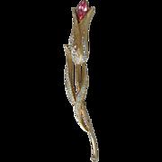 Vintage Francois Coro Long-Stemmed TULIP Flower Pink Rhinestone Pin