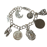 Vintage Sterling Silver Charm Bracelet with Eight Charms, Buddha, Moon, Shoes