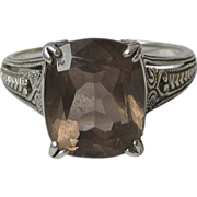 SALE Vintage Sterling Silver Filigree & Square Smoky Quartz Ring, Size 10