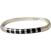Sterling Silver & Inlaid Onyx Taxco Mexico Hinged Rectangular Bangle Bracelet
