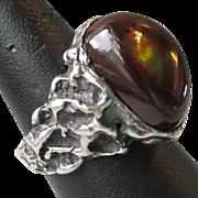 SALE Vintage Unisex Sterling Silver Nugget Design Fire Agate Ring