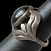 Vintage Mexico Sterling Silver Mystical Black Moonstone Labradorite Ring