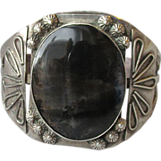 REDUCED Magnificent Early Vintage Navajo Sterling Silver & Scenic Agate Wide Cuff Bracelet