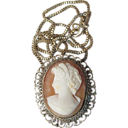 Antique Ornate Victorian 800 Silver Shell Cameo & Sterling Silver Chain Necklace