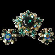Vintage Signed Beau Jewels Emerald Green Aurora Borealis Rhinestone Pin & Earrings Set