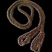 Long Vintage 1920's Bronze Iridescent Seed Bead Flapper Lariat Tassel Necklace