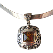 Retired Silpada Sterling Silver Scroll Work Amber Pendant on Sterling Collar Necklace