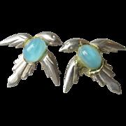 Art Deco Vintage Sterling Silver Blue Bird Earrings