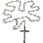 SALE DRASTIC REDUCTION Vintage Sterling Silver & Crystal Rosary, A.G. Inc