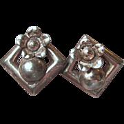 1940's Vintage Deco Sterling Silver Earrings