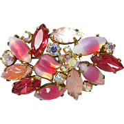SALE Unusual High-Quality Vintage Givre, Flower & Leaf Shaped Molded Pink & Aurora Borealis ..