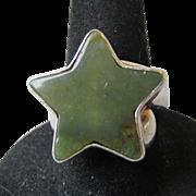 SALE Vintage Charles Albert Sterling Silver STAR Agate Ring, Size 6