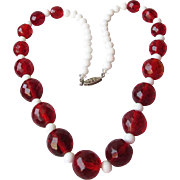SALE Faux Cherry Amber Czech Glass Bead Necklace