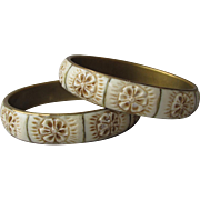 SALE Pair of 1960's Vintage Hippie Flower Power Bone & Brass Bangle Bracelets
