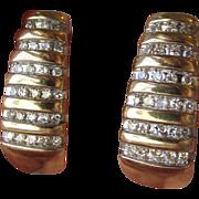 10k Gold & Diamond Modified Hoop Shrimp Pierced Earrings