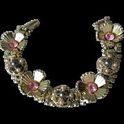 Retro 1950's Pink Rhinestone & Faux Pearl Book Chain Bracelet