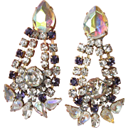 Spectacular Vintage Upcycled Czech Purple & AB Crystal Dangle Earrings
