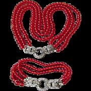 1920's Vintage Triple Strand Red Glass Bead Art Deco Rhinestone Clasp Bracelet & Flapper ...