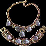 SALE Spectacular Unsigned Vintage WEISS Lavender Molded Glass & Rhinestone Necklace & Bracelet